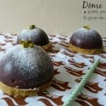 Dômes poire, pistache et grué de cacao (deux coffrets gourmands chocolat à gagner)