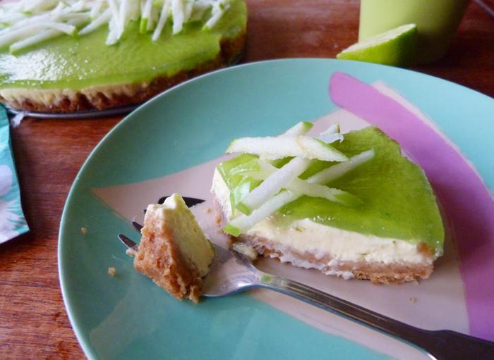cheesecake au citron vert et à la pomme granny smith