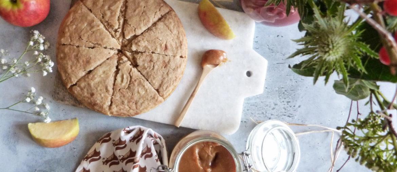 moelleux à la compote de pommes et au caramel
