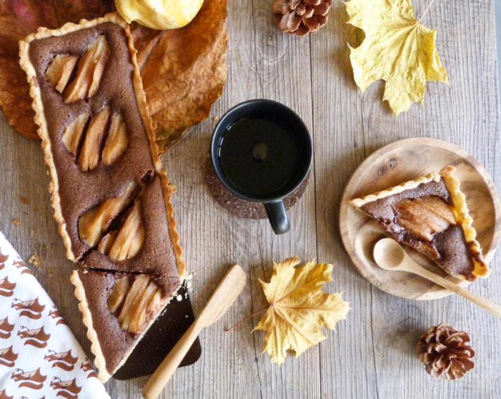 tarte poire crème d'amandes au chocolat