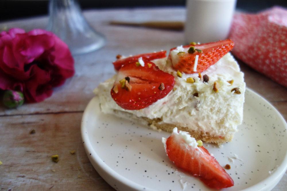 cheesecake aux fraises et chocolat blanc
